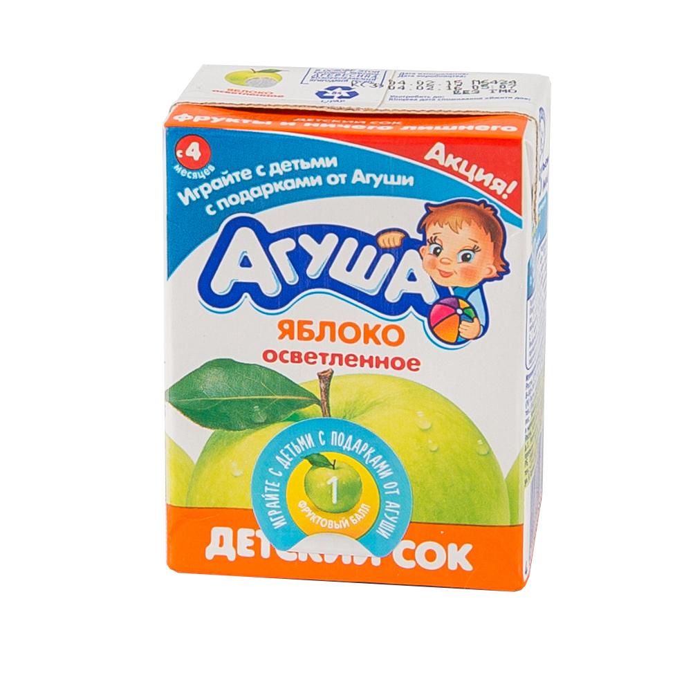 Сок Агуша 200 мл (тетрапак) Яблочный осветленный (с 4 мес)
