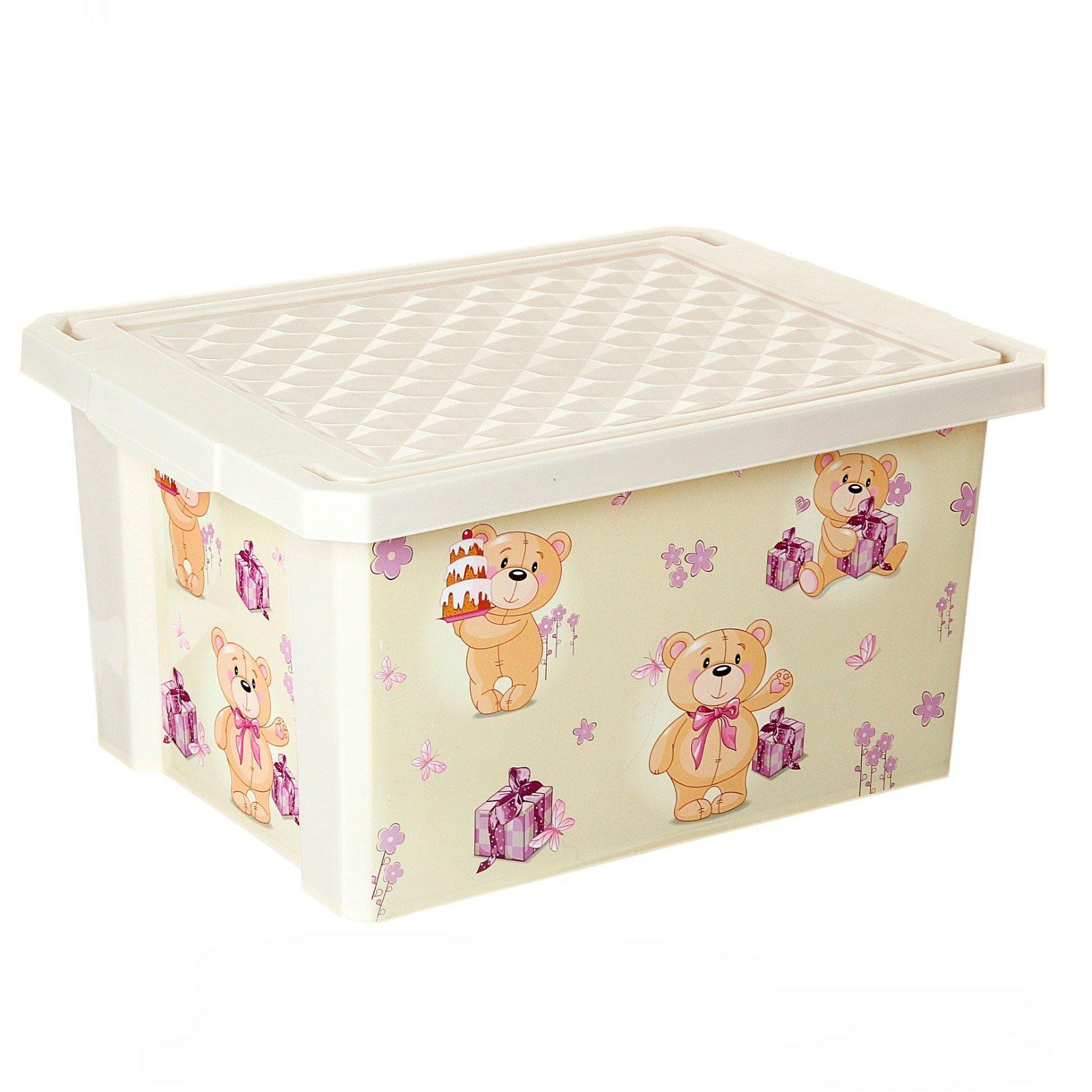 Ящик для хранения игрушек Little Angel X-Box Bears 17л Слоновая кость