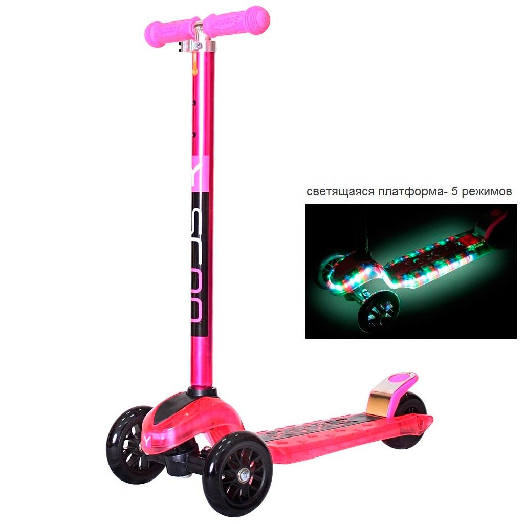 Самокат Y-SCOO maxi Laser Show Pink Metallic<br>