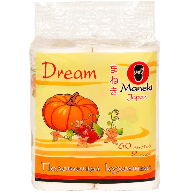 Полотенца кухонные бумажные Maneki Dream 2 слоя белые с рисунком (2 рулона по 60 листов)<br>