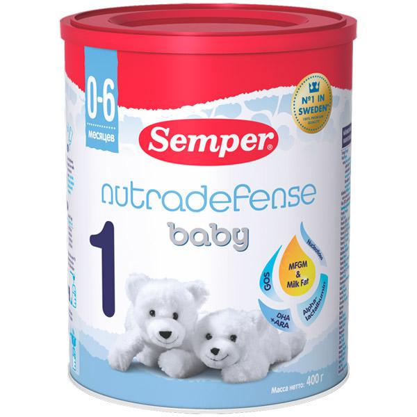 Заменитель Semper Nutradefense Baby 400 гр №1 (с 0 до 6 мес) заменитель semper nutradefense 2 с