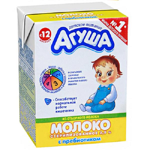 Молоко Агуша 200 мл С пребиотиком 2,5% (с 12 мес) 200 мл<br>