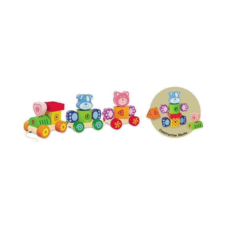 Развивающая игрушка I`m Toy Паровозик-конструктор Кошка с собачкой<br>
