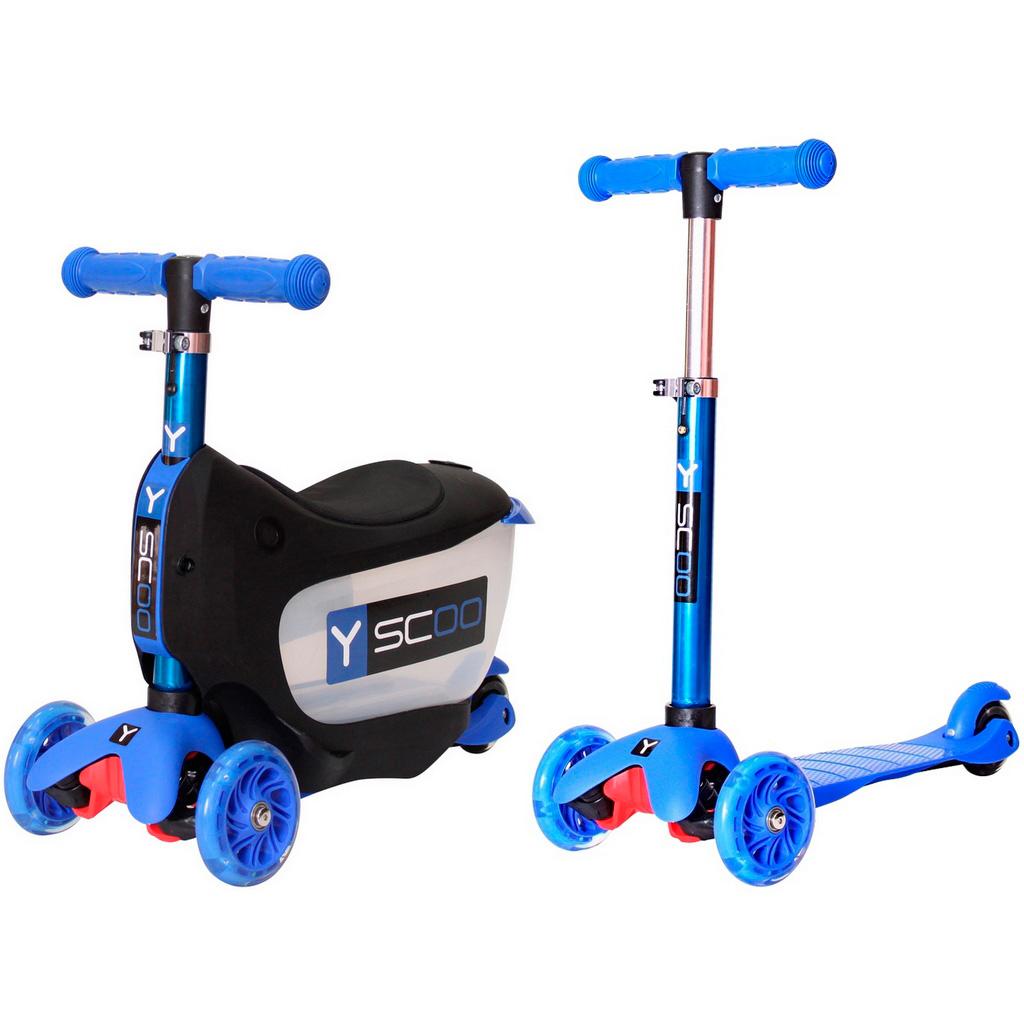 Каталка-самокат 3в1 Y-SCOO Mini Jump&amp;amp;Go со светящими колесами Dark Blue<br>
