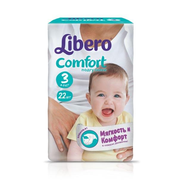 Подгузники Libero Comfort Midi 4-9 кг (22 шт) Размер 3<br>