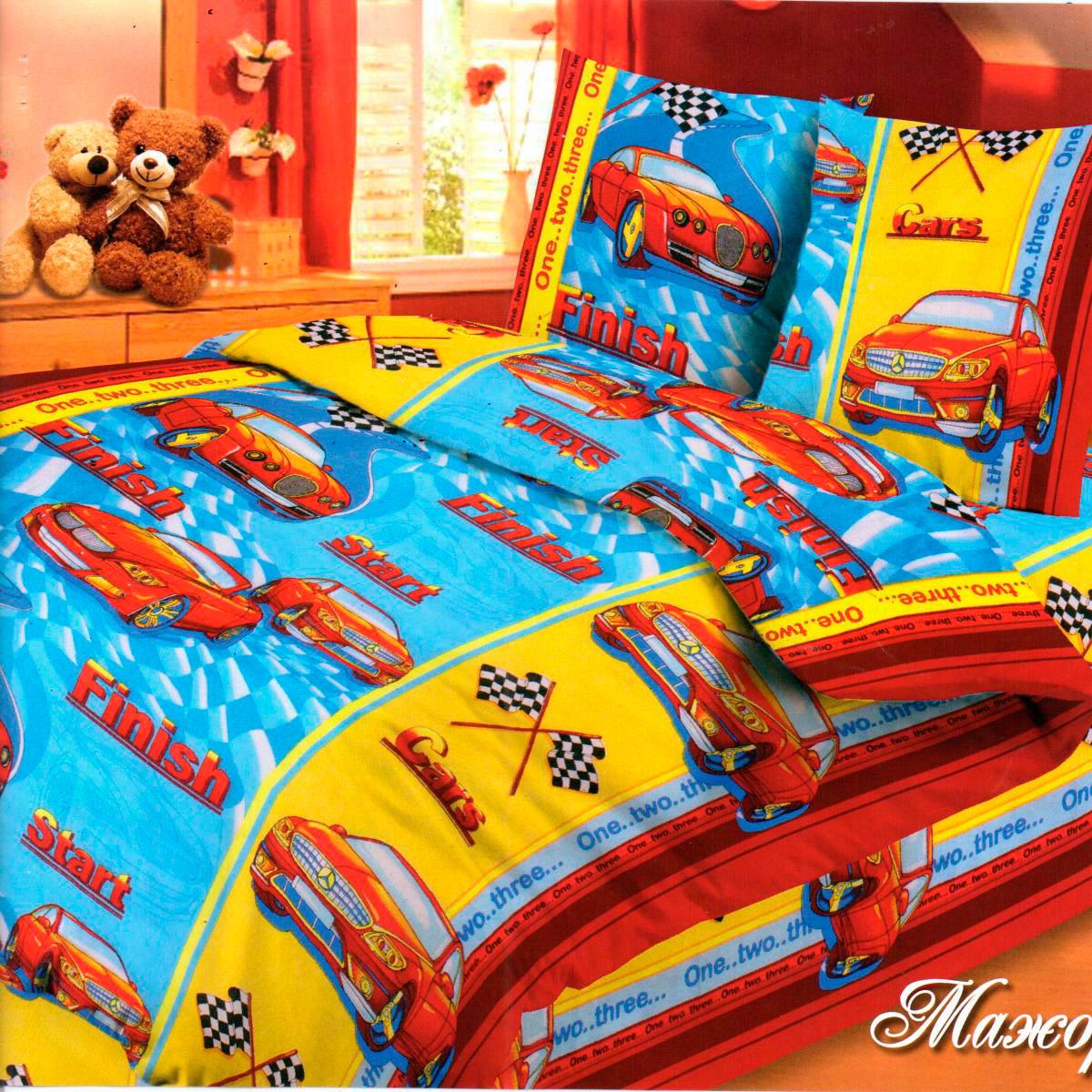Комплект постельного белья детский Letto с наволочкой 50х70 Ралли Красный