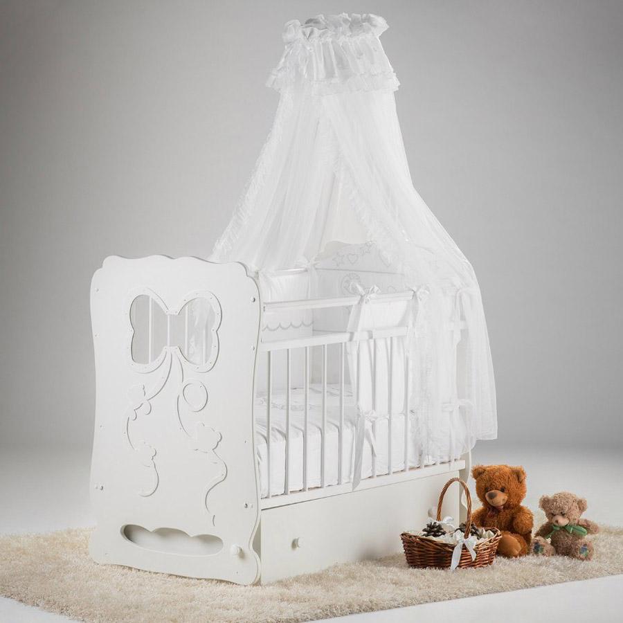 Кроватка Островок Уюта Мальвина маятник поперечный с ящиком Белая<br>