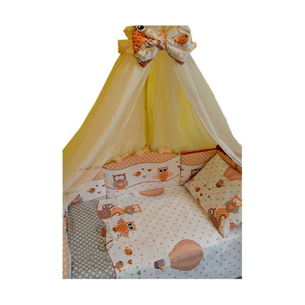 Комплект в кроватку ToyMart Совы 8 предметов Бежевый<br>