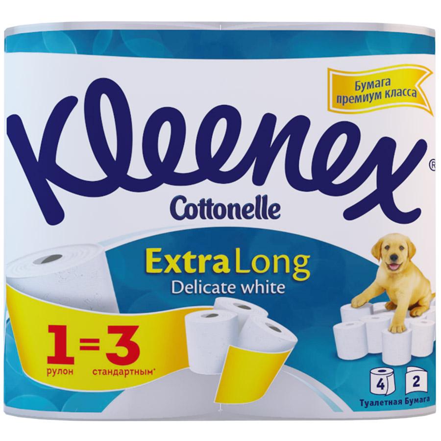 Туалетная бумага Kleenex экстра лонг (2 слоя) 4 шт<br>