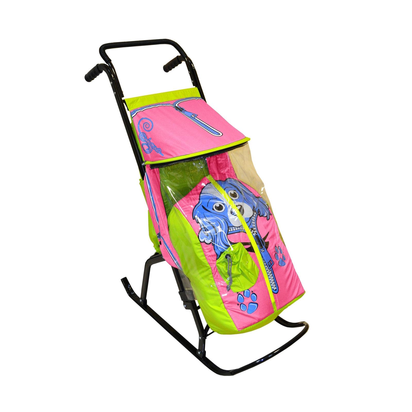 Санки-коляска Снегурочка 2-Р Собачка Салатовые с розовым