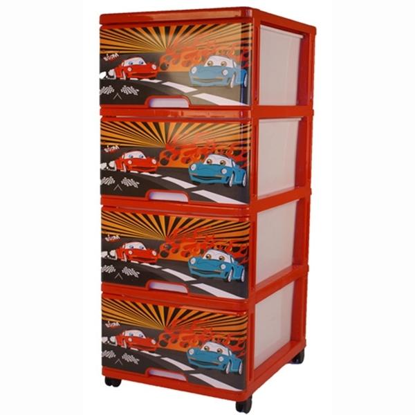 Комод для игрушек Dunya Декор Тачки Красный<br>