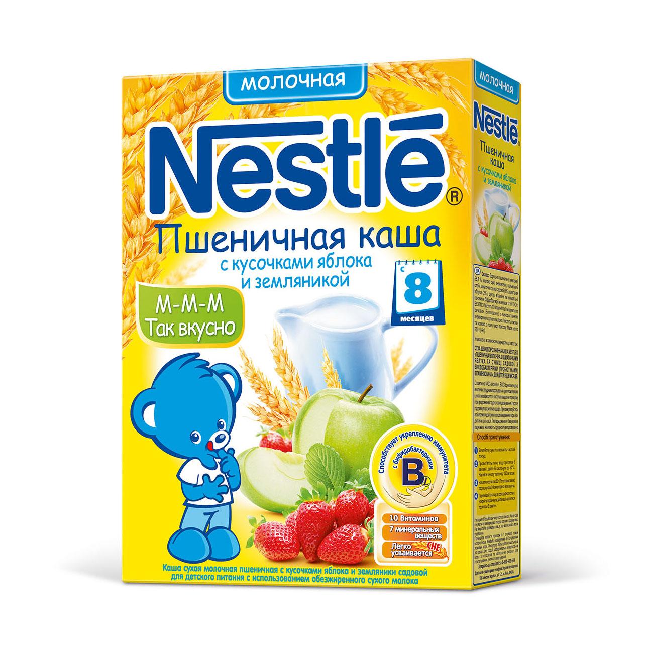 Каша Nestle молочная 250 гр Пшеничная с кусочками яблока и земляники (с 8 мес)<br>