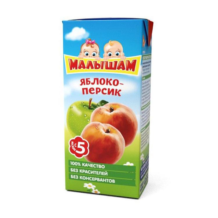 Нектар Малышам 330 мл (тетрапак) Яблоко персик осветленный (с 5 мес)<br>