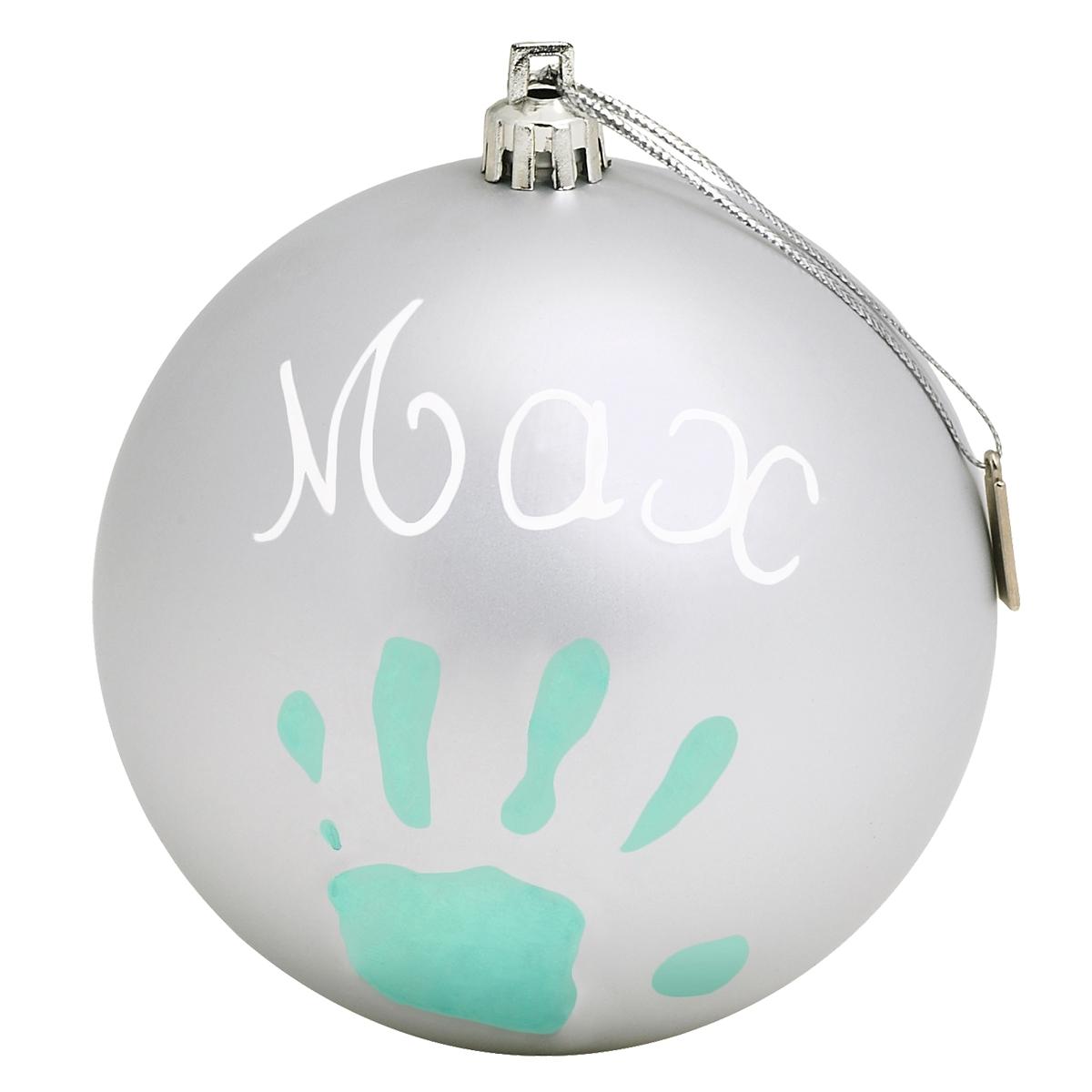 Новогодний шар Baby Art с отпечатком серебряный<br>
