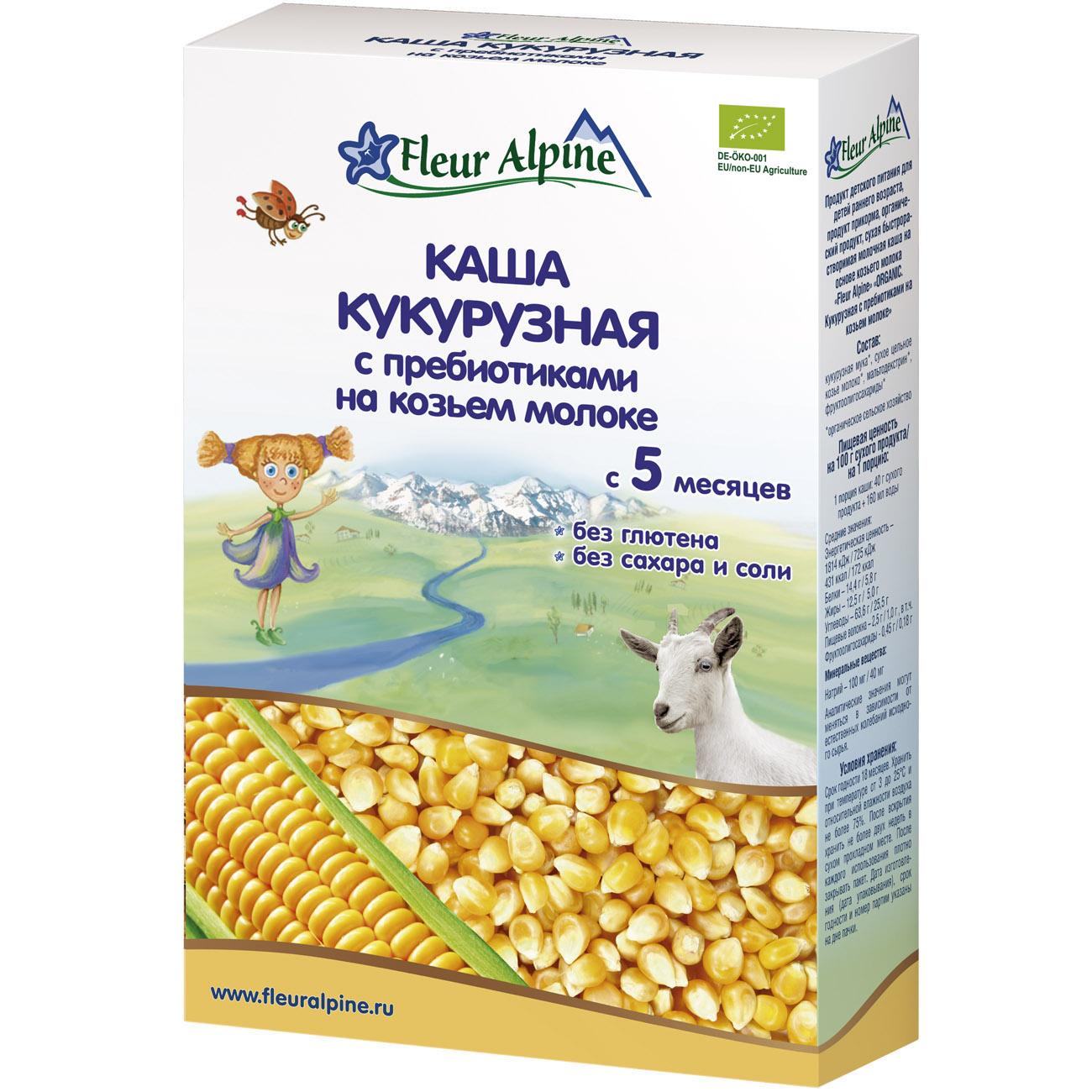 Каша Fleur Alpine Органик на козьем молоке 200 гр Кукурузная с пребиотиками (с 5 мес)<br>