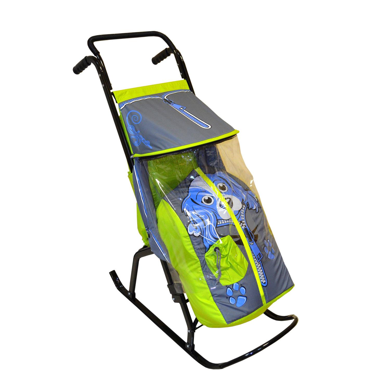 Санки-коляска Снегурочка 2-Р Собачка Салатовые с серым