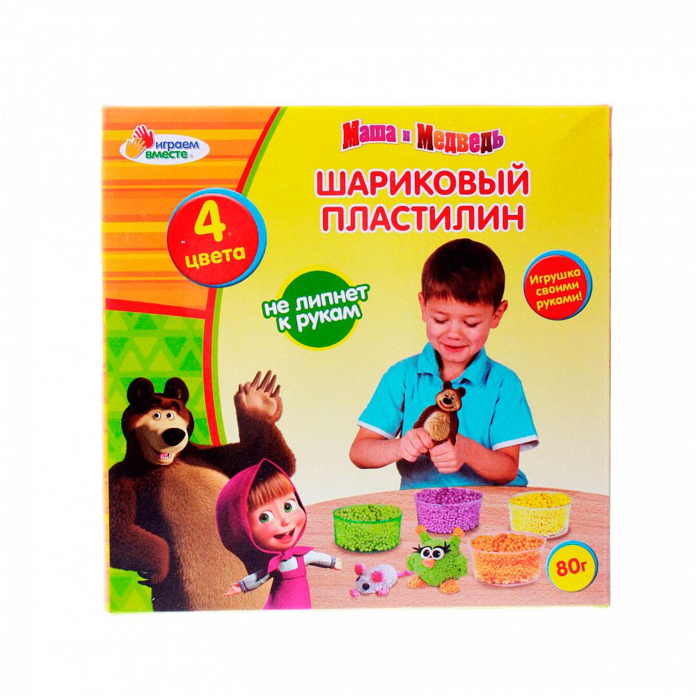 Шариковый пластилин Multiart Маша и медведь Застывающий 4 цвета х 20 грамм<br>