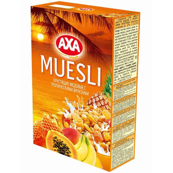 Мюсли АХА Мед с тропическими фруктами (хрустящие)<br>