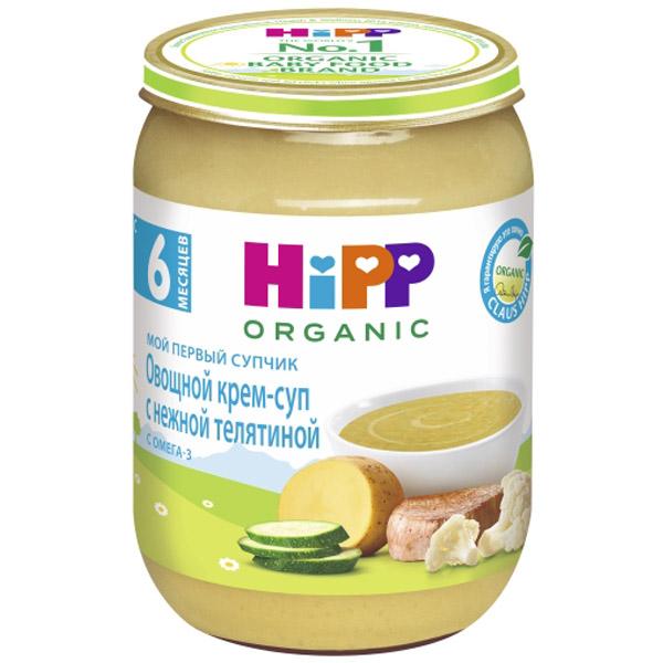 Пюре Hipp Мой первый супчик 190 гр Овощной с нежной телятиной (с 6 мес)<br>