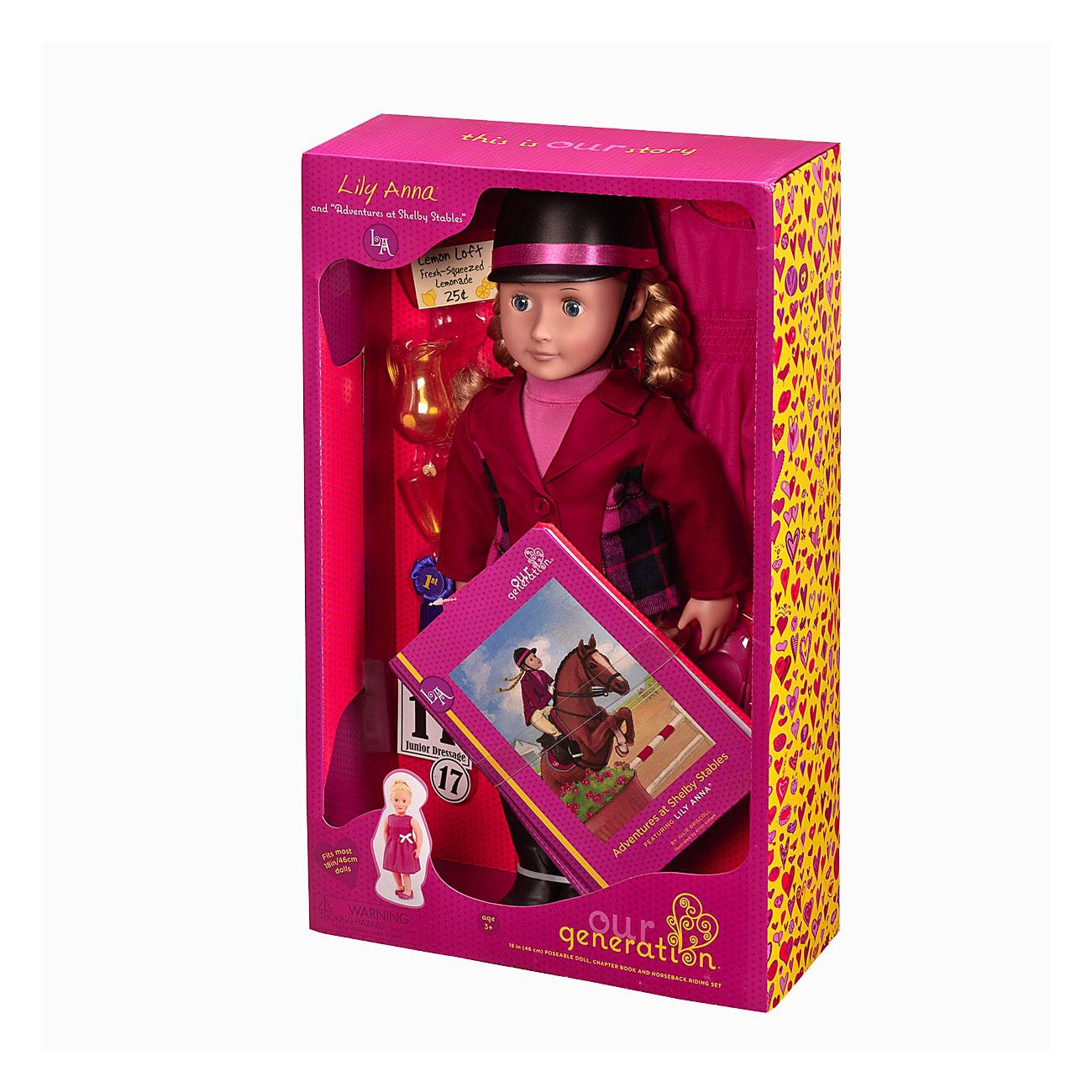 Кукла Our Generation ДеЛюкс Лили Анна 46 см с книжкой на русском языке Приключения на конюшнях Шелби<br>