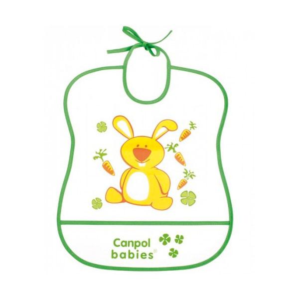 Нагрудник Canpol Babies с полимерным покрытием зеленый (с 6 мес)<br>