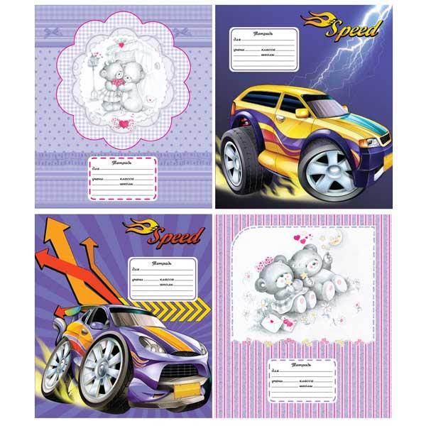 Тетрадь ACTION! 12 листов узкая линейка CARTOON CARS/CUTIES<br>