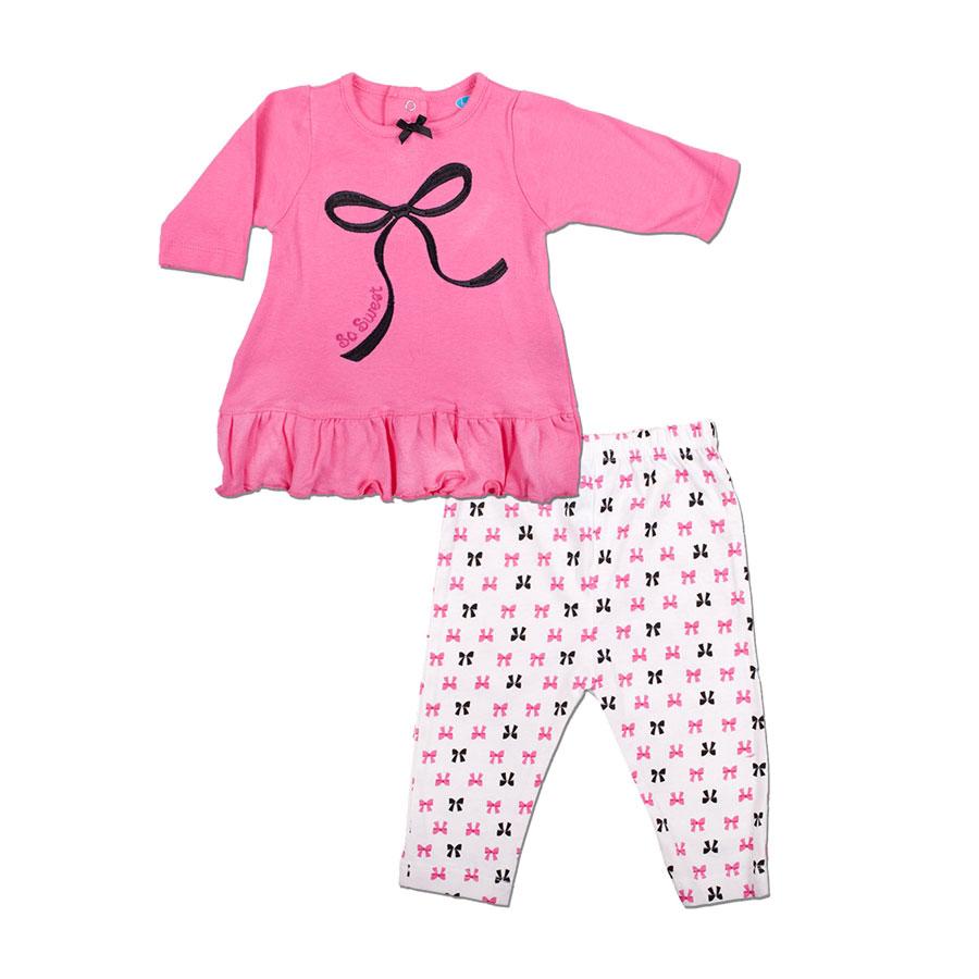 Комплект Bon Bebe Бон Бебе для девочки: платье длинный рукав и леггинсы, цвет розовый-белый 6-9 мес. (66-76,2 см)
