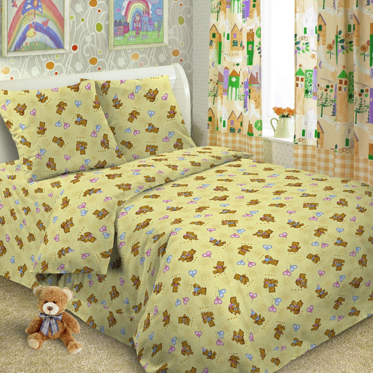 Комплект постельного белья детский Letto в кроватку с простыней на резинке BGR-33 Светло-желтый<br>