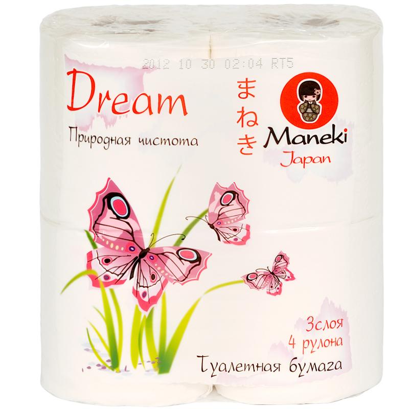 Бумага туалетная Maneki Dream 3 слоя с тиснением (4 рулона в упаковке) 23 м