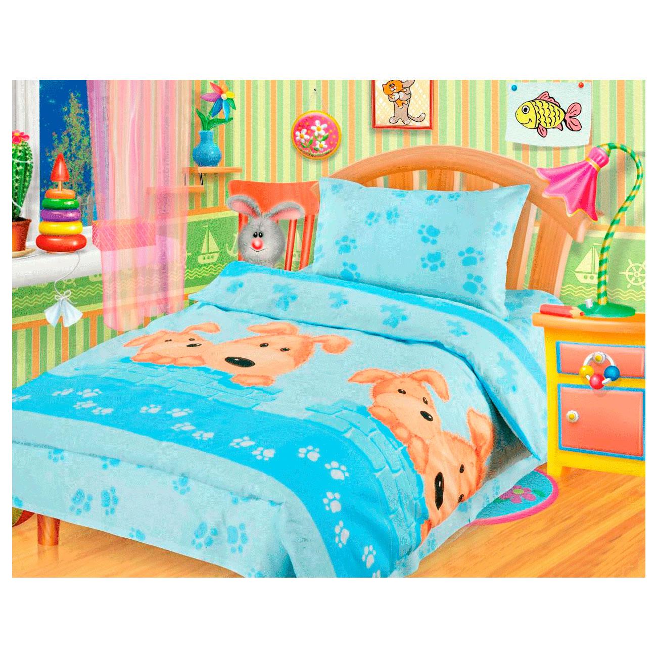 Комплект постельного белья детский бязь Непоседа КДН-1 Собачки Синий