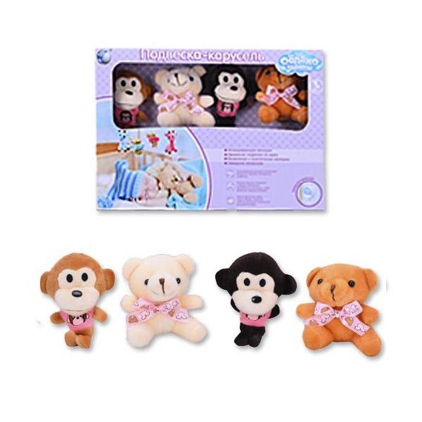 Мобиль Облако заботы музыкальный с мягкими игрушками Мишка и Обезьянка<br>