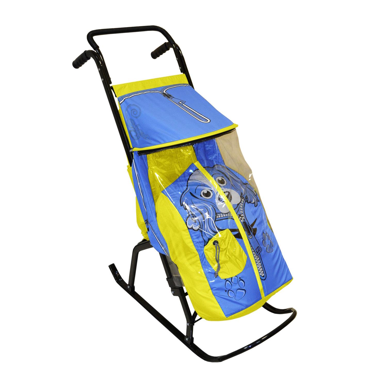 Санки-коляска Снегурочка 2-Р Собачка Желтые с голубым