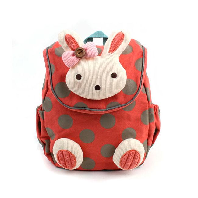 Рюкзак детский Winghouse с игрушкой и поводком 21х23х9см Зайка Красный<br>