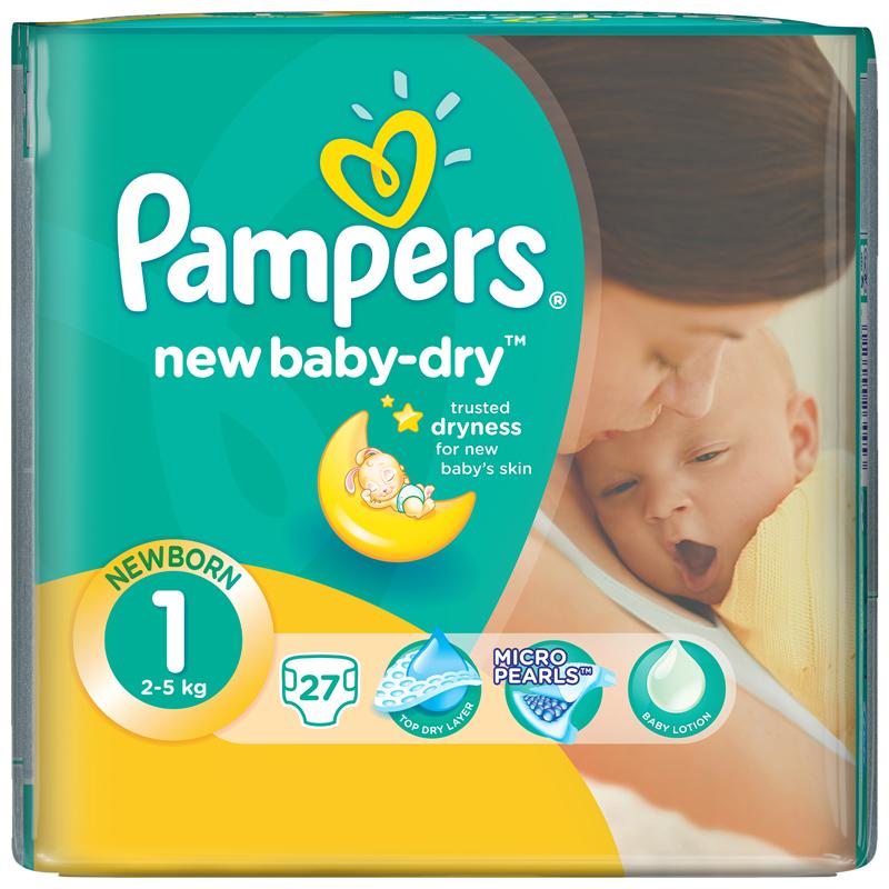 Подгузники Pampers New Baby Newborn 2-5 кг (27 шт) Размер 1