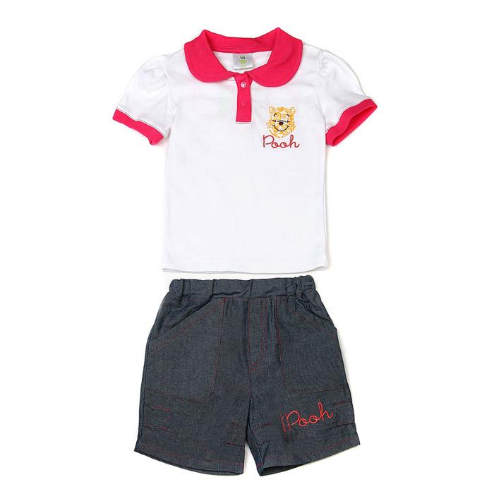 Комплект одежды Дисней Винни Пух футболка-поло и шорты, для мальчика, белый 18 мес. (Disney (одежда))