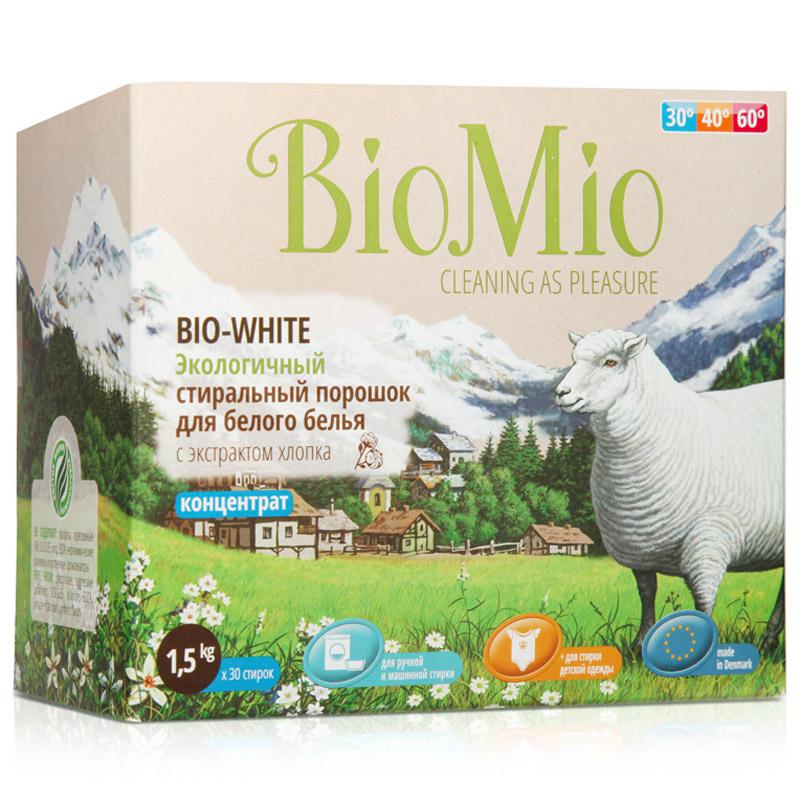 Экологичный стиральный порошок BioMio 1500 гр. для белого белья с экстрактом хлопка (концетрат)<br>