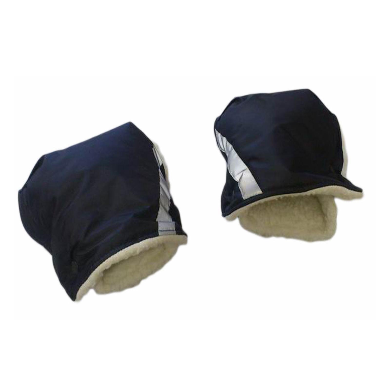 Варежки для коляски Снежинка защита рук от холода Черно-серые на липучках 100% шерсть<br>