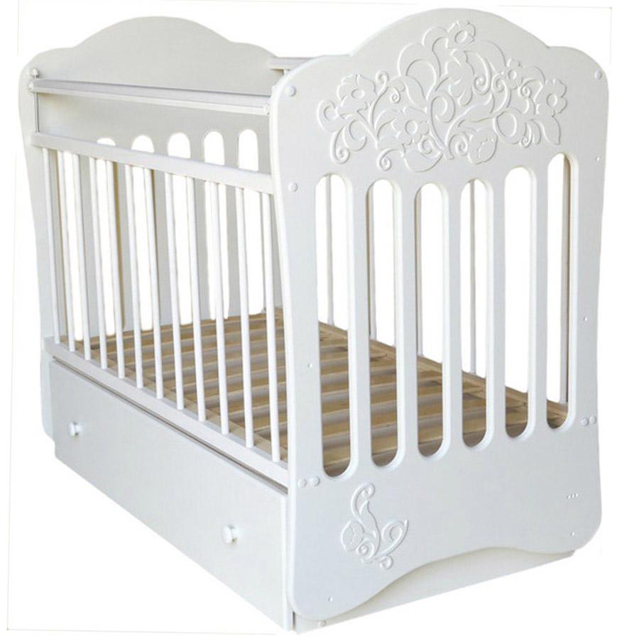 Кроватка Островок Уюта Виола маятник поперечный с ящиком Белая<br>