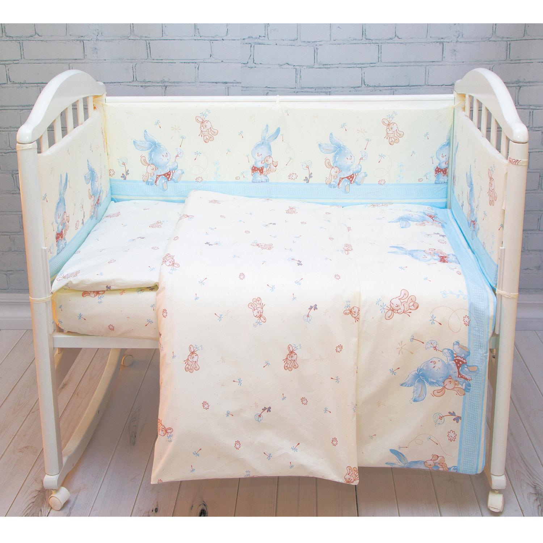 Комплект постельного белья  Baby Nice Элит Зайчики Голубой<br>
