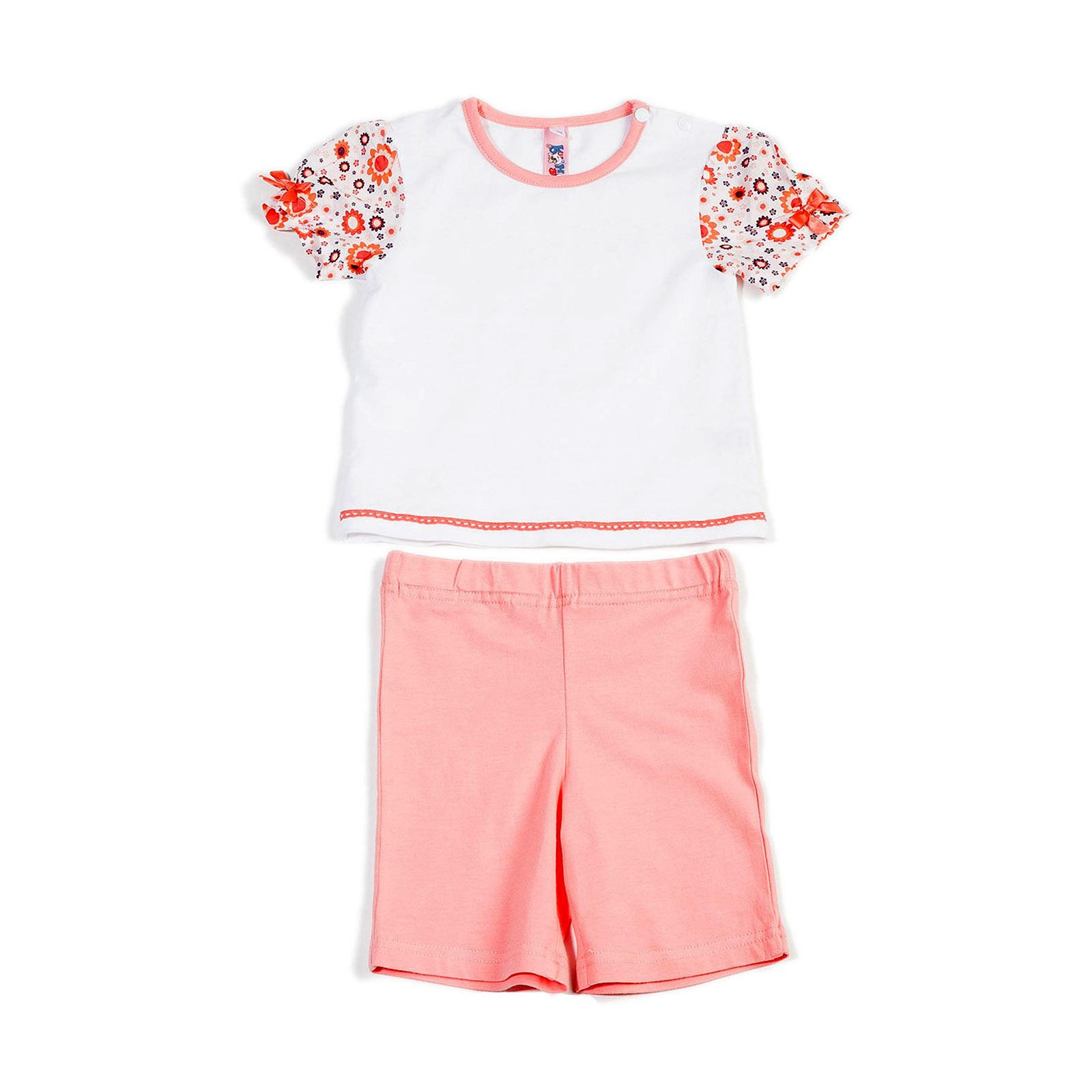 Комплект Veneya Венейя (футболка+шорты) для девочки, цвет белый размер 92