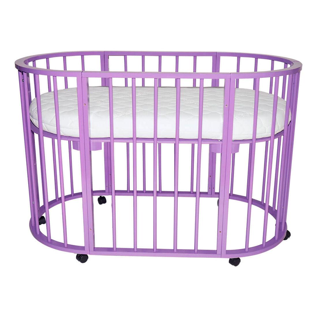 Кроватка-трансформер Valle Domenica 9 в 1 овальная Фиолетовый<br>