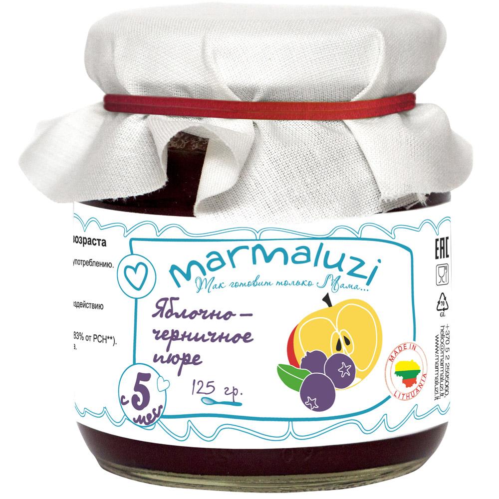 Пюре Marmaluzi фруктовое 125 гр Яблоко черника (с 5 мес)<br>