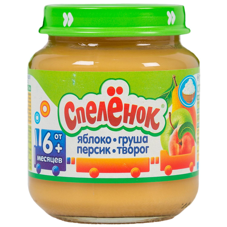 Пюре Спеленок фруктовое с творогом 125 гр Яблоко с грушей и персиком (с 6 мес)<br>