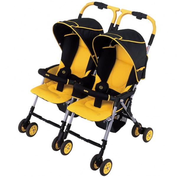 Коляска для двойни Aprica Nelccobed Twin черная с желтым (95347)<br>