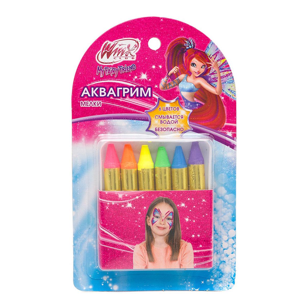 Аквагрим Multiart Мелки Winx 6 цветов Неоновые<br>
