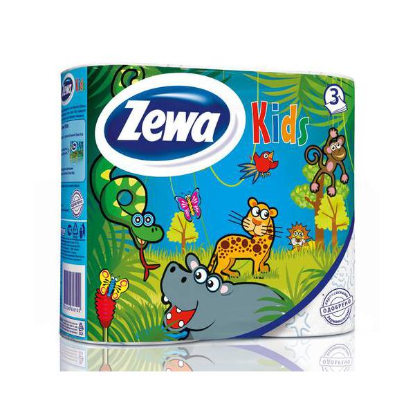 Туалетная бумага Zeva Kids детская (3 слоя) 4шт (Zewa Зева)