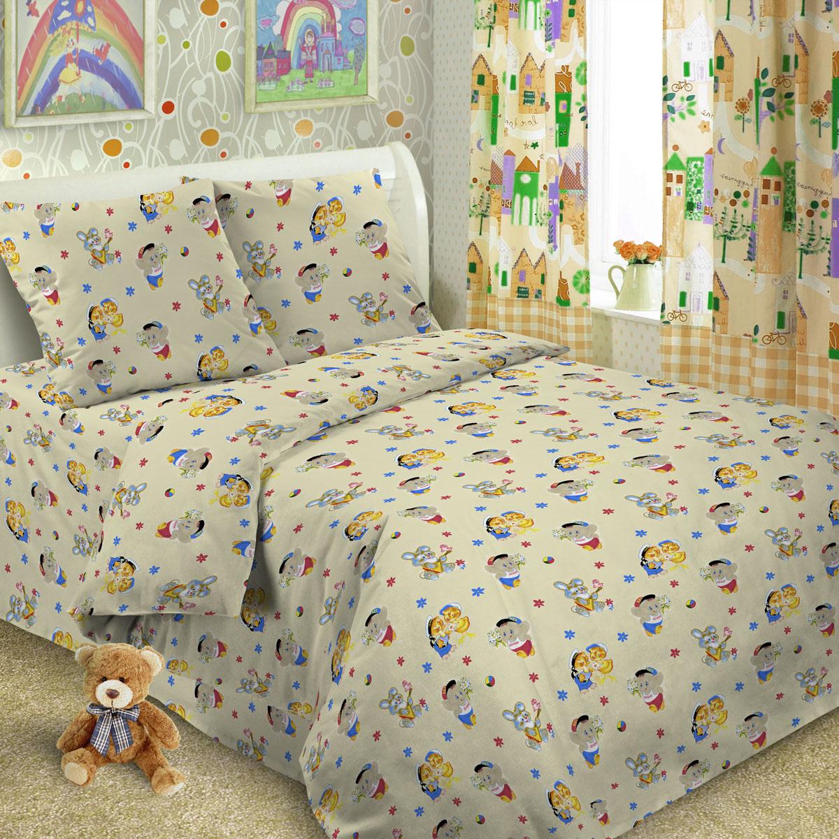 Комплект постельного белья детский Letto в кроватку с простыней на резинке BGR-34 Желтый<br>
