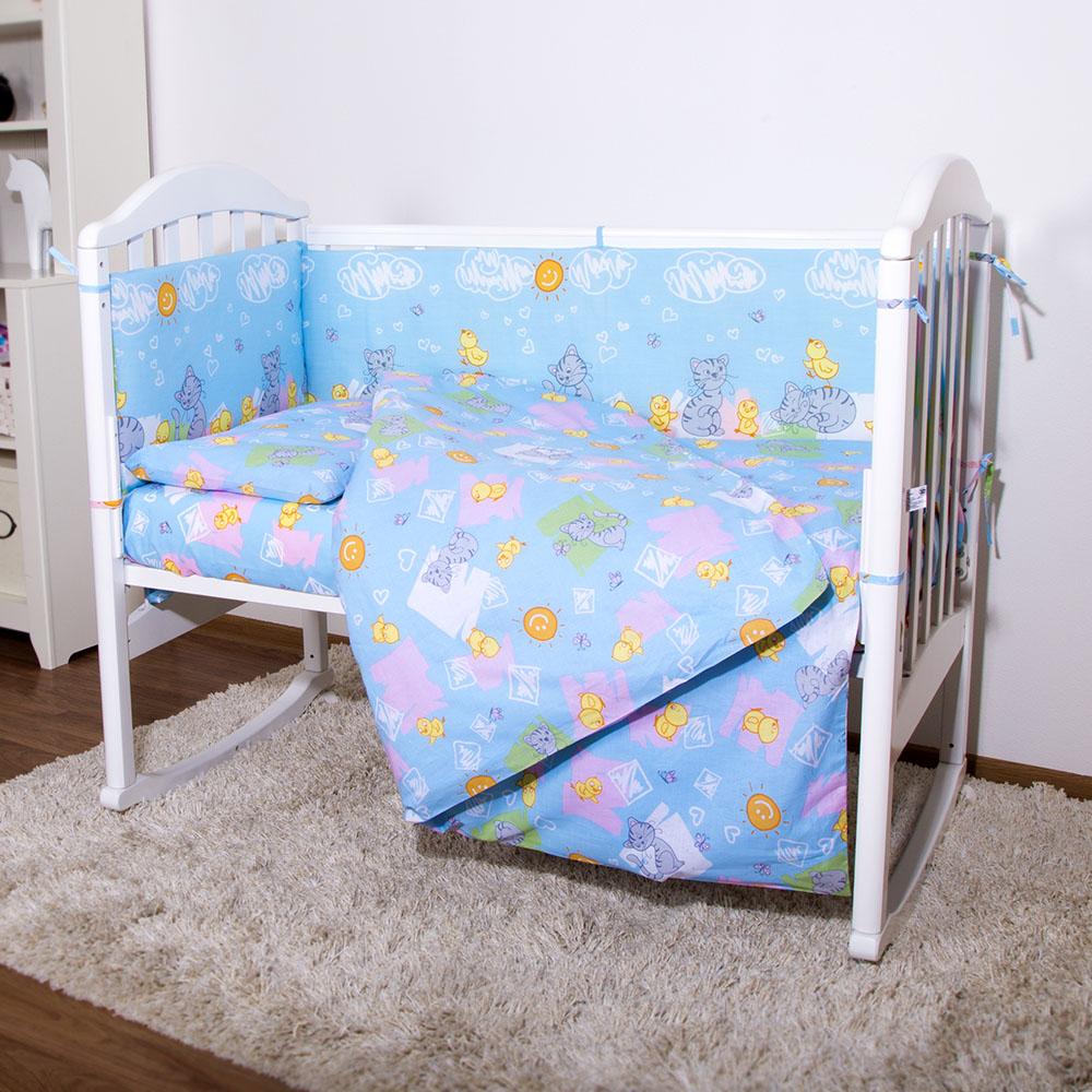 Комплект в кроватку Споки Ноки 6 предметов Котята и цыплята (голубой, желтый, розовый)<br>