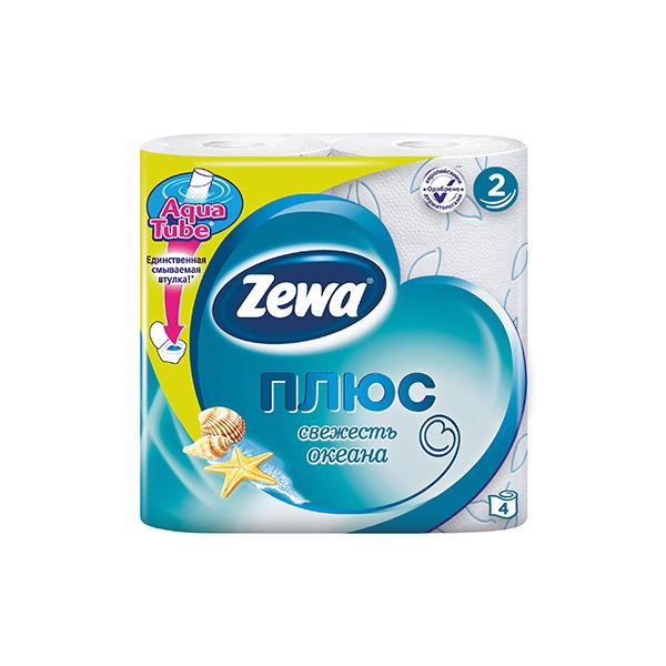 Туалетная бумага Zewa голубая (2 слоя) 4 шт<br>