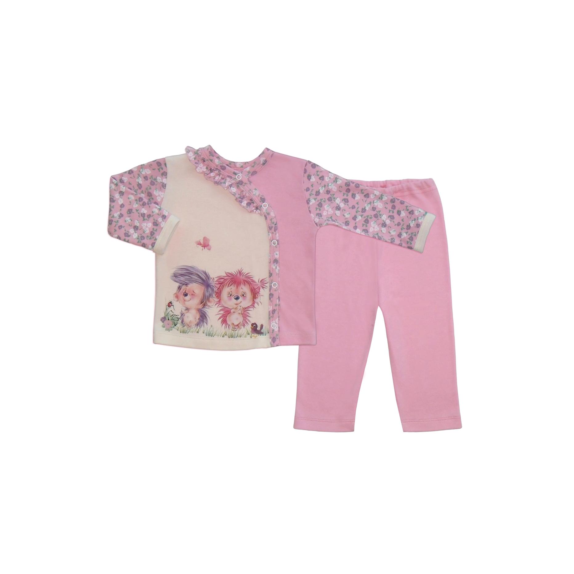Комплект ясельный Бимоша: кофточка+ползунки, цвет молоко/розовый (146052) 12-18 мес.